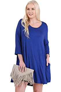 e278fe54ba5 Umgee Boho Chic Scalloped Hem T-Shirt Dress reg    Plus Size 1621 ...