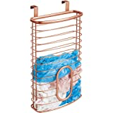 mDesign Metal Over Cabinet Kitchen Storage Organizer Holder or Basket - Hang Over Cabinet Doors in Kitchen/Pantry - Holds up to 50 Plastic Shopping Bags - Copper