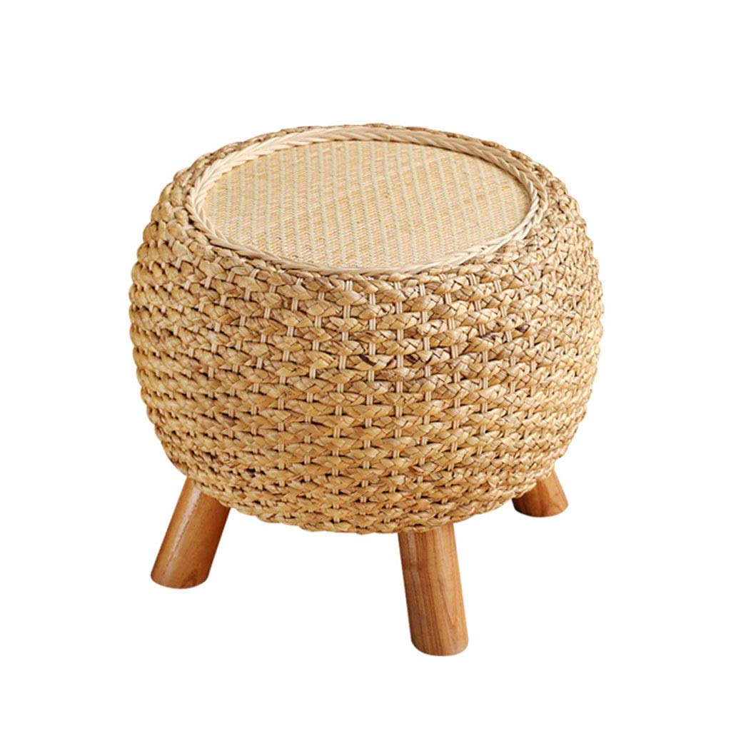 RXY-Wicker chair Home Rattan Stool, Wooden Shoe Bench, Coffee Table Balcony Sofa Bench, Straw Round Bench