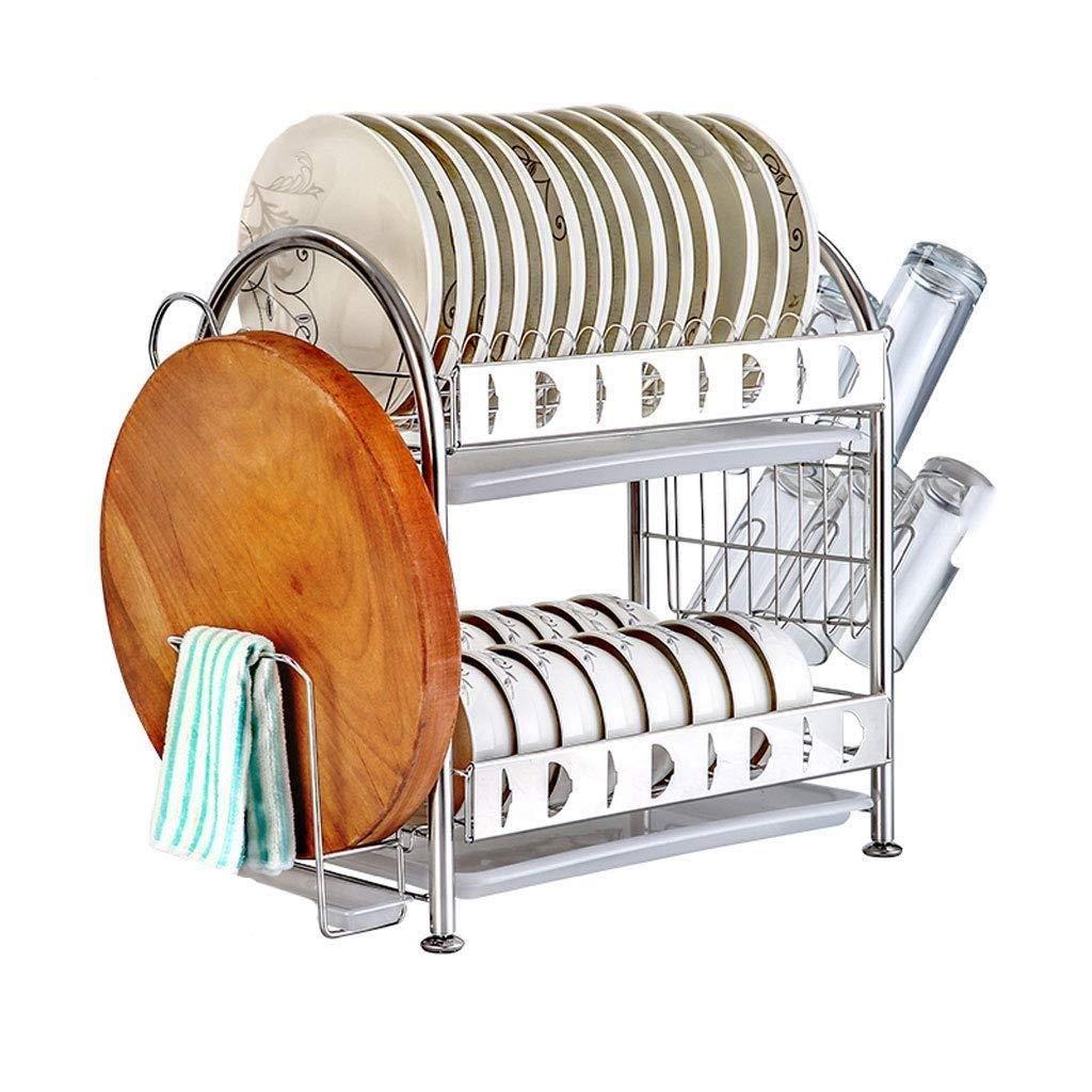 キッチン収納ラック - 304ステンレス鋼キッチン食器棚排水ラック乾燥フィルター食器収納ボックス料理皿食器棚2層 ZHHCP B07RPHWD4L