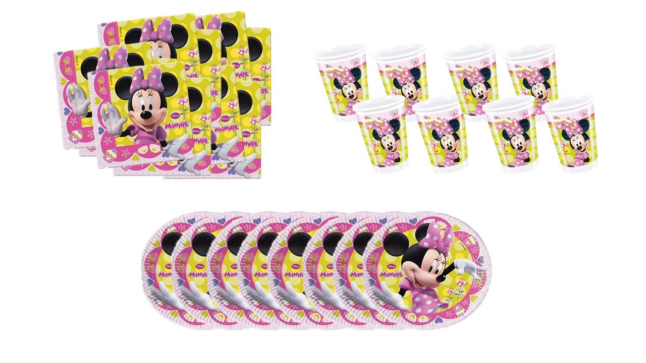ALMACENESADAN 0773, Pack Desechables Disney Minnie Mouse, 8 Platos 20 cms, 10 Vasos 220 ml y 20 servilletas de Papel