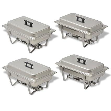Festnight 4 Piezas Calentadores de Comida para Buffet Sartenes de Agua y de Comida Acero Inoxidable