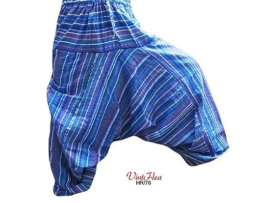 VintFlea Pantalones Indios Ropa Azul Harén Algodón Estampado Aladdin Pijama Mujeres: Amazon.es: Ropa y accesorios