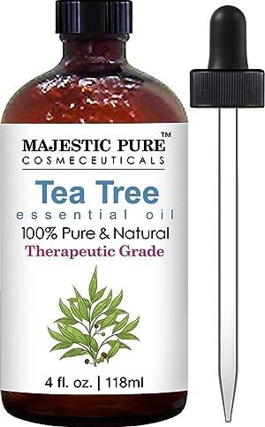 Majestic Pure Therapeurtic Melaleuca Alternifolia Tea Tree Oil with Dropper, 4 Onces.