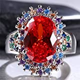 Huge 9ct Women 925 Silver Ruby&Multicolor Topaz Gemstone Wedding Ring Size 6-10 (7)