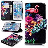 "Wallet Case for iPhone 6S Plus 5.5"",Leecase Pink Flamingo Butterfly Flower Fruit Pattern Design Flip Stand Wallet Handset Shell Bookstyle Cover Skin for iPhone 6S Plus/6 Plus 5.5"" + 1x Black Stylus"