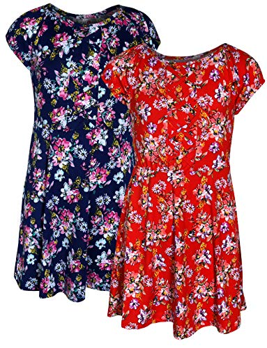 Real Love Girl\'s Printed Yummy Summer Dress (2 Pack) (Navy/Red Flower, -