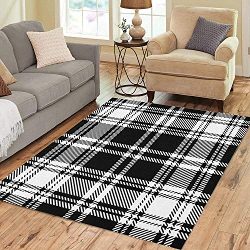 (Pinbeam Area Rug Tartan Black and White Plaid Pattern Abstract Scottish Home Decor Floor Rug 3' x 5' Carpet)