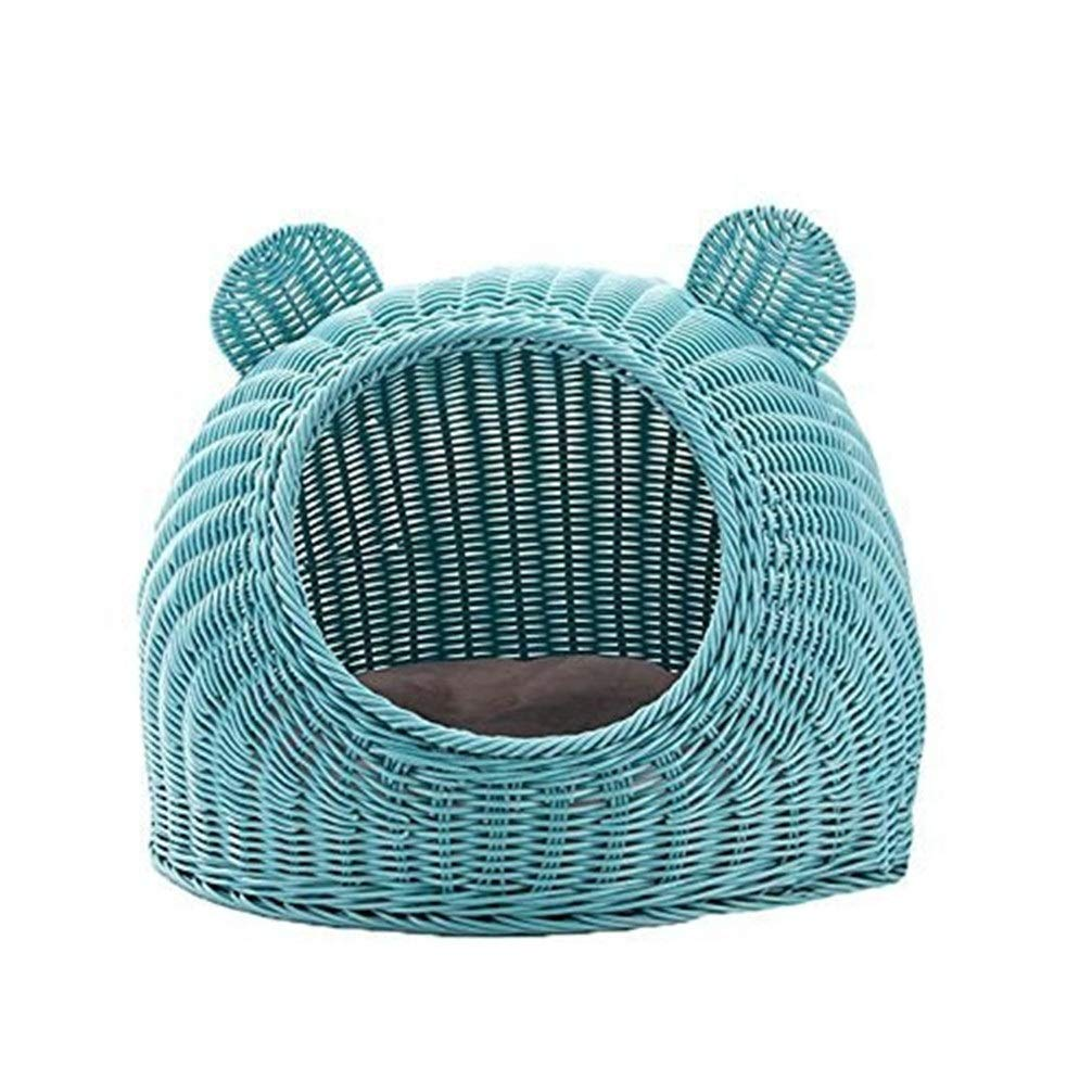 Chunchun Cute Pet Rattan Cat Litter Closed Cat House Kennel (Gift Cotton Mat and Cool Mat) (Color : Blue, Size : 36x26cm) by Chunchun
