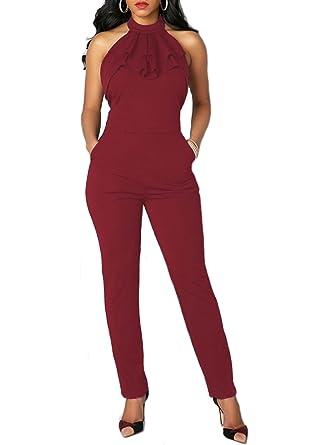 vera qualità Più votati miglior prezzo per emmarcon Tuta Elegante Pantaloni Lunghi Schiena Scoperta Vestito Abito  Cerimonia da Donna