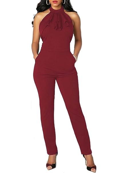 emmarcon Tuta Elegante Pantaloni Lunghi Schiena Scoperta Vestito Abito  Cerimonia da Donna  Amazon.it  Abbigliamento bb4e14e2caa9
