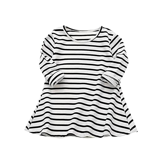 f41a79e84242 Amazon.com  Vicbovo Toddler Baby Girl Kids Casual Striped Long ...