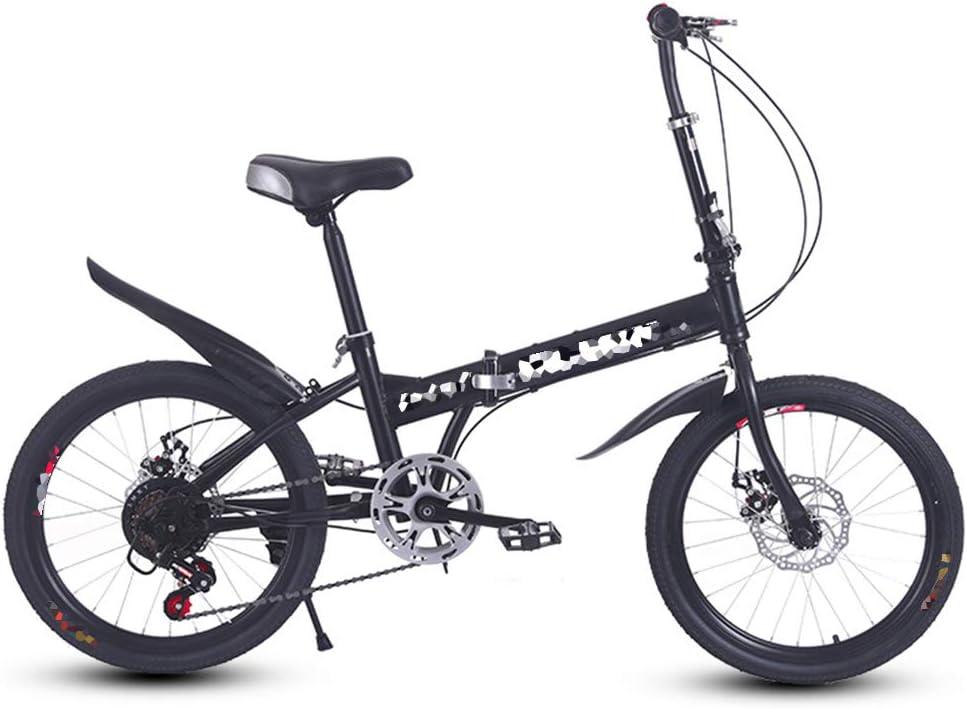 "Folding Bike 20/"" Double Folding Carbon steel Frame Shimano 6 Speed Disc Brake"