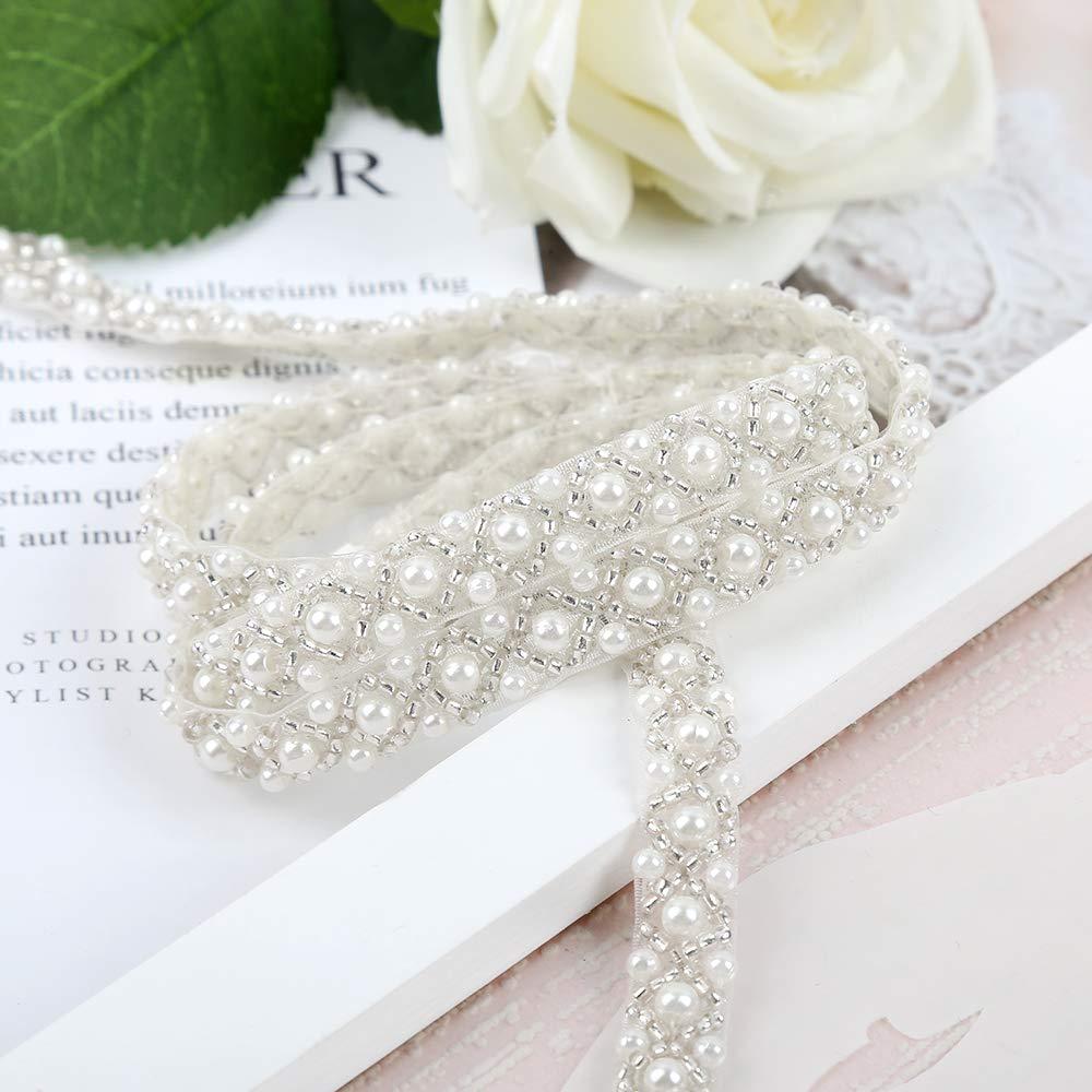 QueenDream Wedding Applique Pearl Trim Applique Fashion Headband Crystal Sash Belt Applique Pearl Rhinestone Applique Socialite Pearl Rhinestone Applique