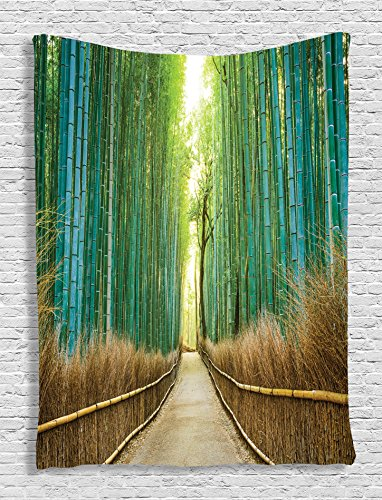 Ambesonne Bamboo Forest in Japan Collection, Panoramic View of Historic Landscape Park Photography Print, Bedroom Living Kids Girls Boys Room Dorm Accessories Wall Hanging Tapestry, Light Green Peru