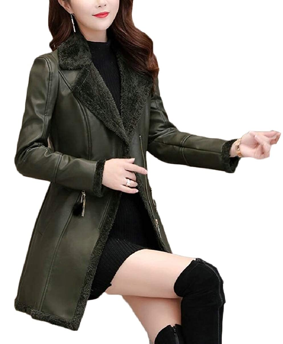 Blackish Green LEISHOP Womens Faux Leather Fleece Slim Coat Jacket Outwear