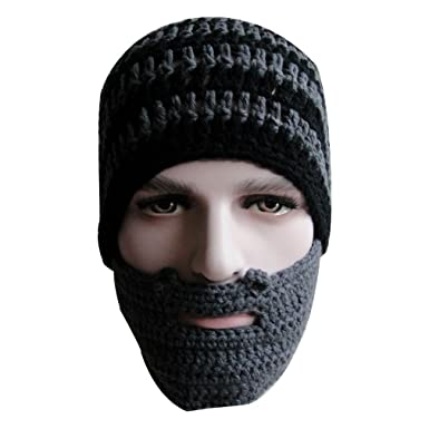 Unisex Adult Winter Warm Knit Crochet Beard Beanie Mustache Mask Ski  Snowboarding Hat Cap (Blackgray 9f0c32ae4e3