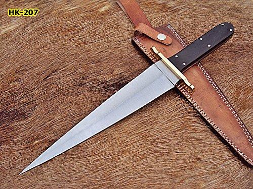RAM-DG-207 Handmade Hi Carbon Steel 15.5 Inches Full Tang Dagger Knife - Buffalo Horn Handle with Brass Guard