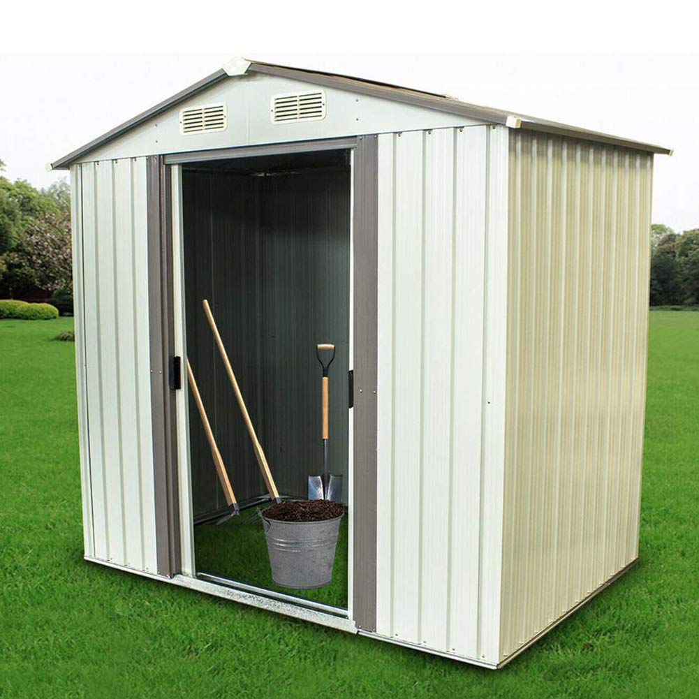 Backyard Shed Garden Shed Outdoor Storage Lawn Steel Roof Style Sheds 4 x 6 Feet,White by Pataku