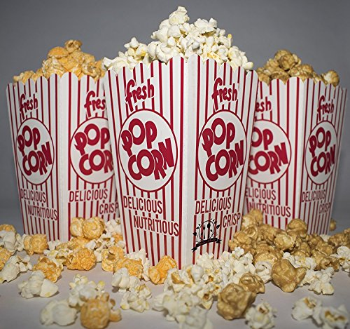 Diner's Choice Gourmet Concession Popcorn Boxes | Perfect for Family Movie Night, Theaters, Festivals, and Party Favors | Red and White Striped Containers (20-Count) -