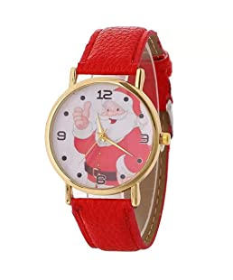 MINILUJIA Christmas Tree Santa Claus Snowflake Design 40mm Dial PU Leather Women Watch (red)