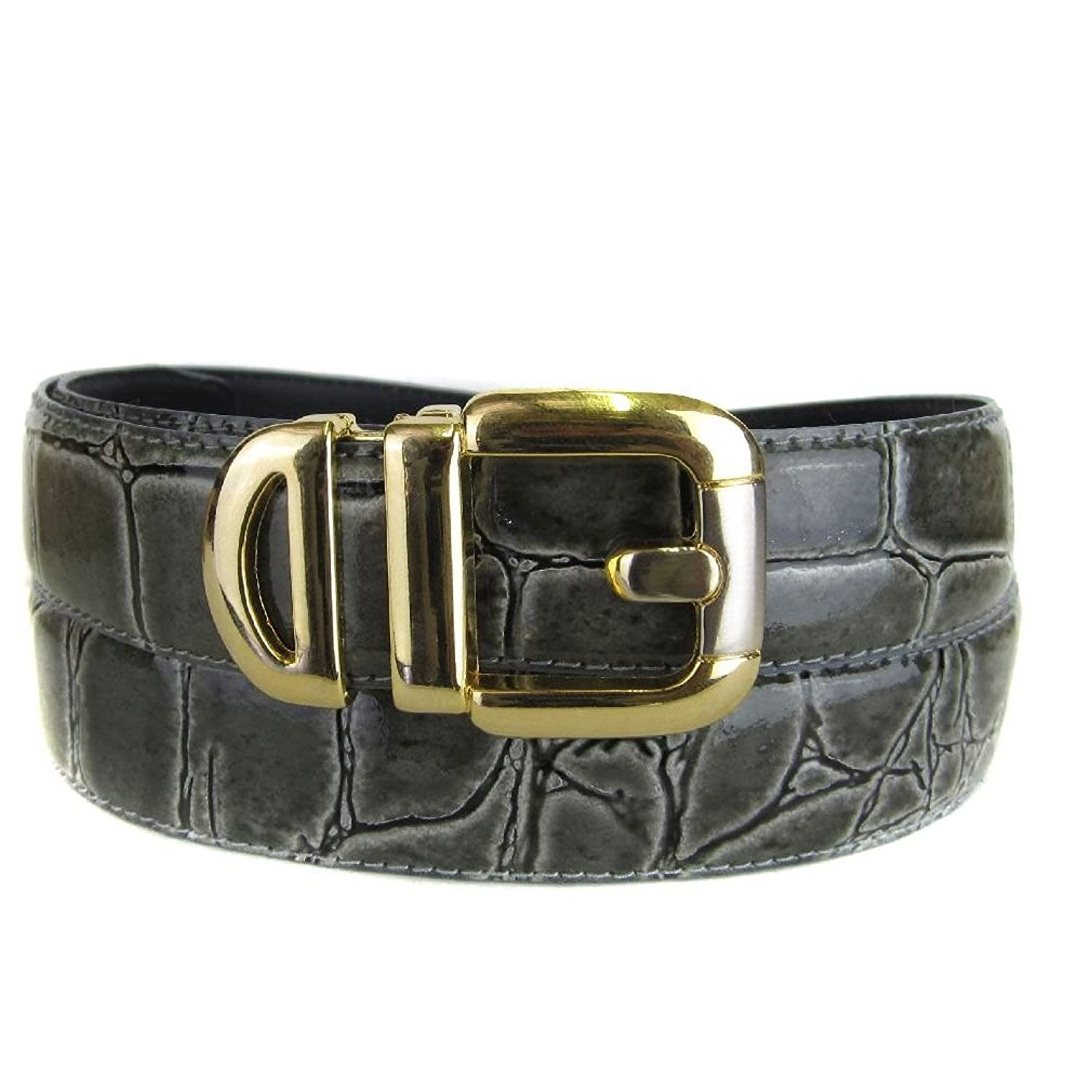 wholesale Gray Bonded Alligator Skin High Quality Fashion Dress Belt free shipping