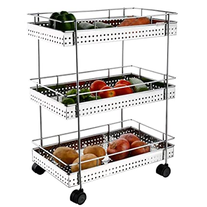 Xectes Stainless Steel Kitchen 3 Layers Trolley/Fruits, Vegetable, Food Storage Trolley Silver Colour