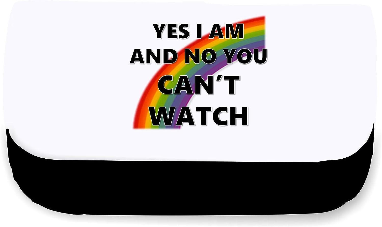 Yes I Am And No You Cant Watch Rainbow - Bolsa de embrague o estuche, color negro talla única: Amazon.es: Oficina y papelería