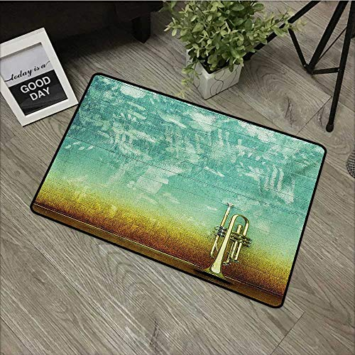(Bedroom Door mat W19 x L31 INCH Music,Old Aged Worn Single Trumpet Stands Alone Against a Faded Wall Jazz Theme Photo,Sea Green Brown Non-Slip, with Non-Slip Backing,Non-Slip Door Mat Carpet)