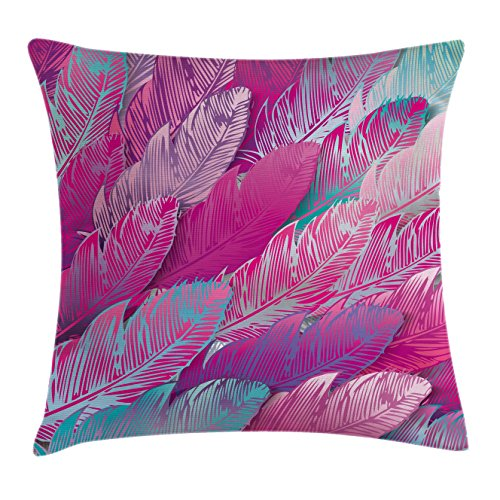 Abstract Throw Pillow Cushion Cover by Ambesonne, Vibrant Feathers Boho Pattern Repeating Vivid Tones Hippie Sixties Print, Decorative Square Accent Pillow Case, 16 X 16 Inches, Magenta Sea Green (Magenta Pillow)