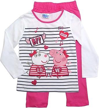Peppa Pig Pijama Largo para niña Color Fucsia y Blanco. 98 cm ...