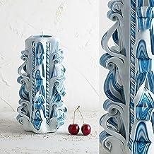 Candle Handmade Designer Artistic Carved - Gentle Blue White - Home Interior Decoration - EveCandles
