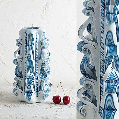 (Candle Handmade Designer Artistic Carved - Gentle Blue White - Home Interior Decoration - EveCandles)