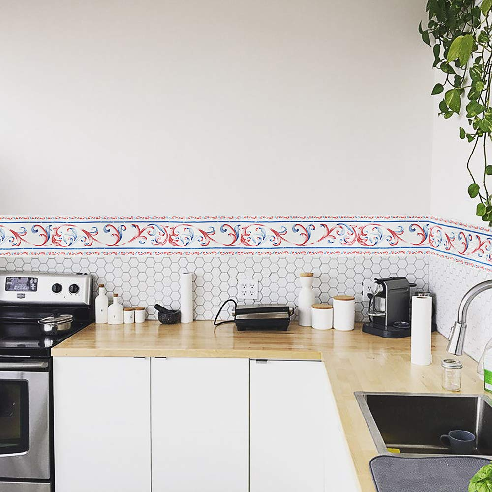 Vinyl Removable Smooth Waistline Tile Borders Ceiling Bathroom Border Tile Stickers Waterproof Yoillione Wallpaper Border Self Adhesive Border Decal Kitchen Wall Borders Yellow Geometric