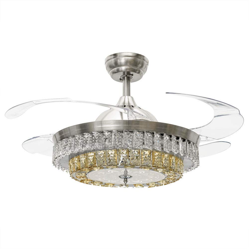 White-05 RS Lighting 42 inch Ceiling Fan Modern White Crystal Decoration Taking Cool Circulating Air Three Functions 4 Pieces Acrylic Blades for Living Bed Room