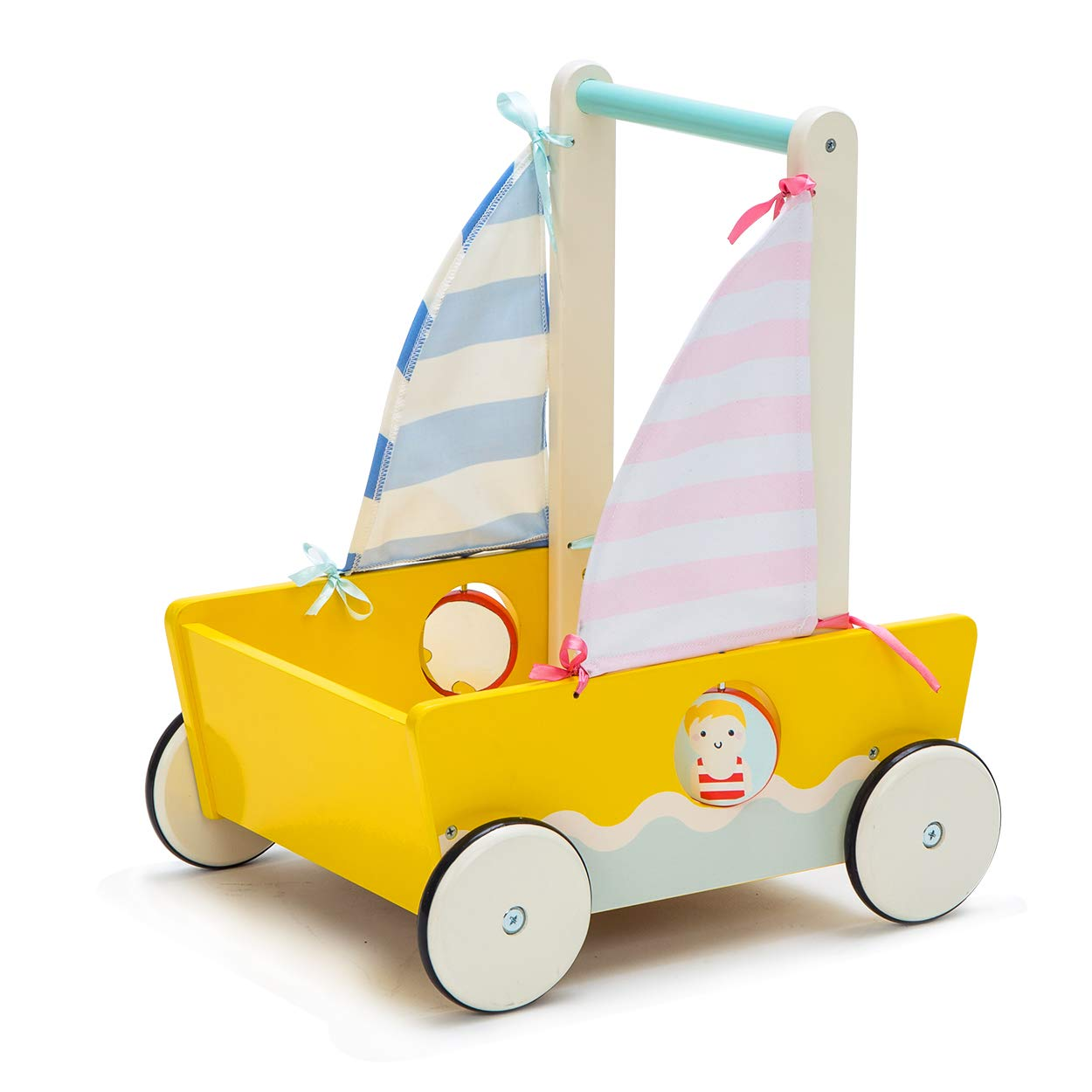 Hessie Baby Walker with Wheel, Boat Activity Push Toy, Toddler Wooden Learning Walking Toys for 1 / 2 / 3 Year Old