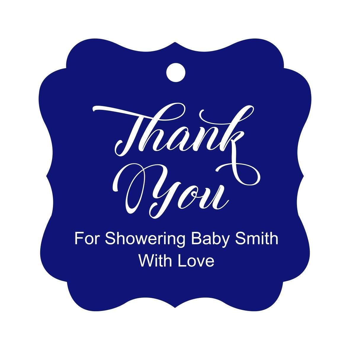 Darling Souvenir Baby Shower Thank you Favor Tags Custom Hang Gift Tags-Floral White-50 Tags
