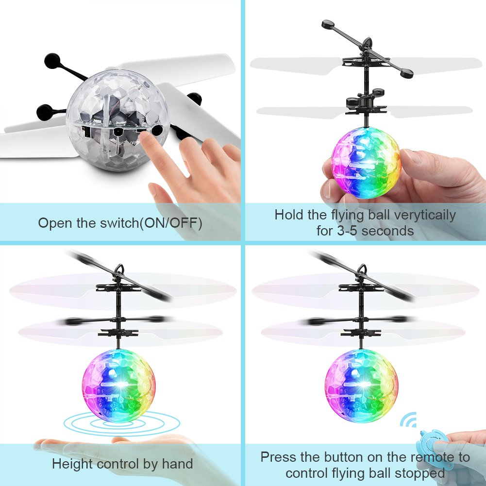Toyk   Flying Ball Infrared Induction RC Flying Toy for Kids Adults  Built-in LED Light Disco Helicopter Teenagers Shining Colorful  Flying Drone Indoor and Outdoor Games  for Boys and Girls