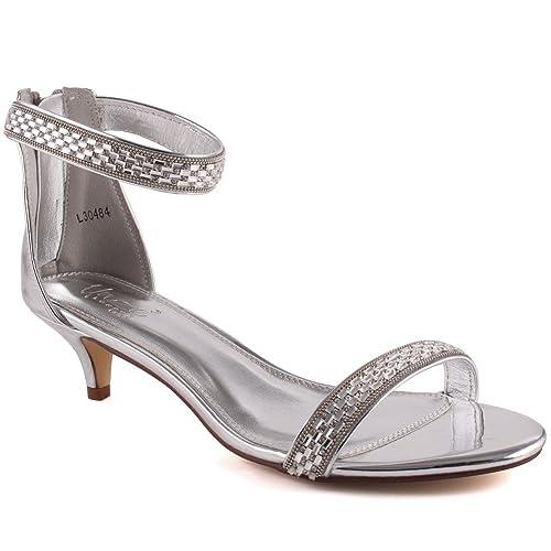 """0af759b98b7 Unze Women """"DARA"""" Fashion Shiny Ankle Strap Mid Open Toe Low Heel Glitter  Toe"""