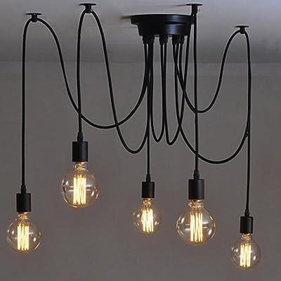 5 Têtes E27 Industrial Lustre Réglable DIY Plafond Spider Light Pendentif Lampe