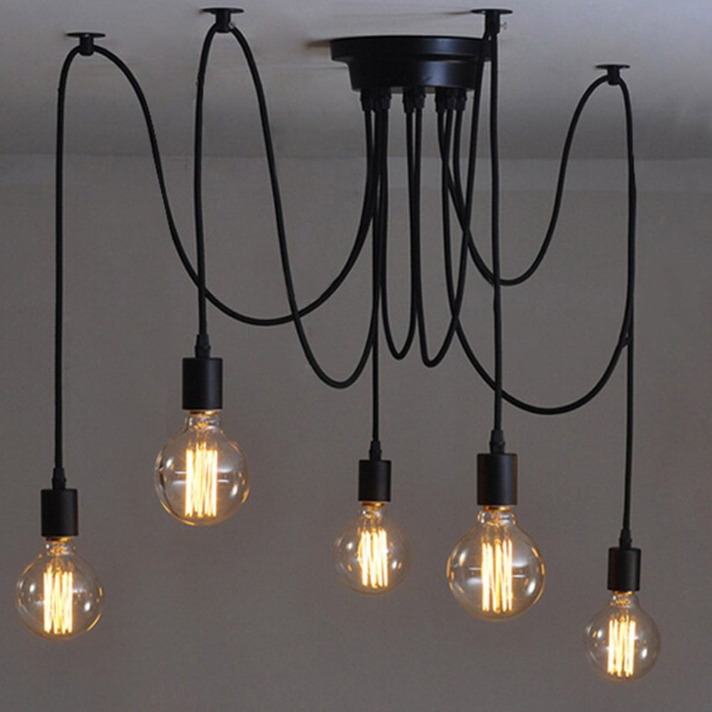 5 Heads E27 Industrial Chandelier Adjustable DIY Ceiling Spider Light Pendant Lamp [Energy Class A+] Ligege