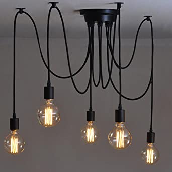 Hervorragend E27 Creative Edison Kronleuchter Antique DIY Kronleuchter 5 Köpfe Lampen  Vintage Industrial Deckenleuchte Pendelleuchte Leuchte Retro