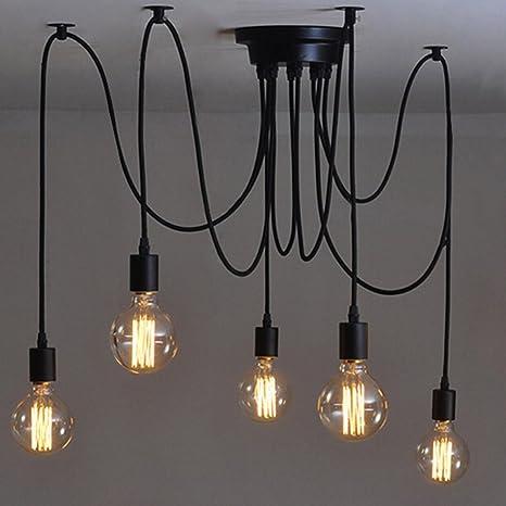 E27 Lámpara Creativa de Edison Lámpara 5 de las Lámparas de DIY Lámpara Industrial del Techo de la Lámpara del Techo de la Lámpara de Las Lámparas ...