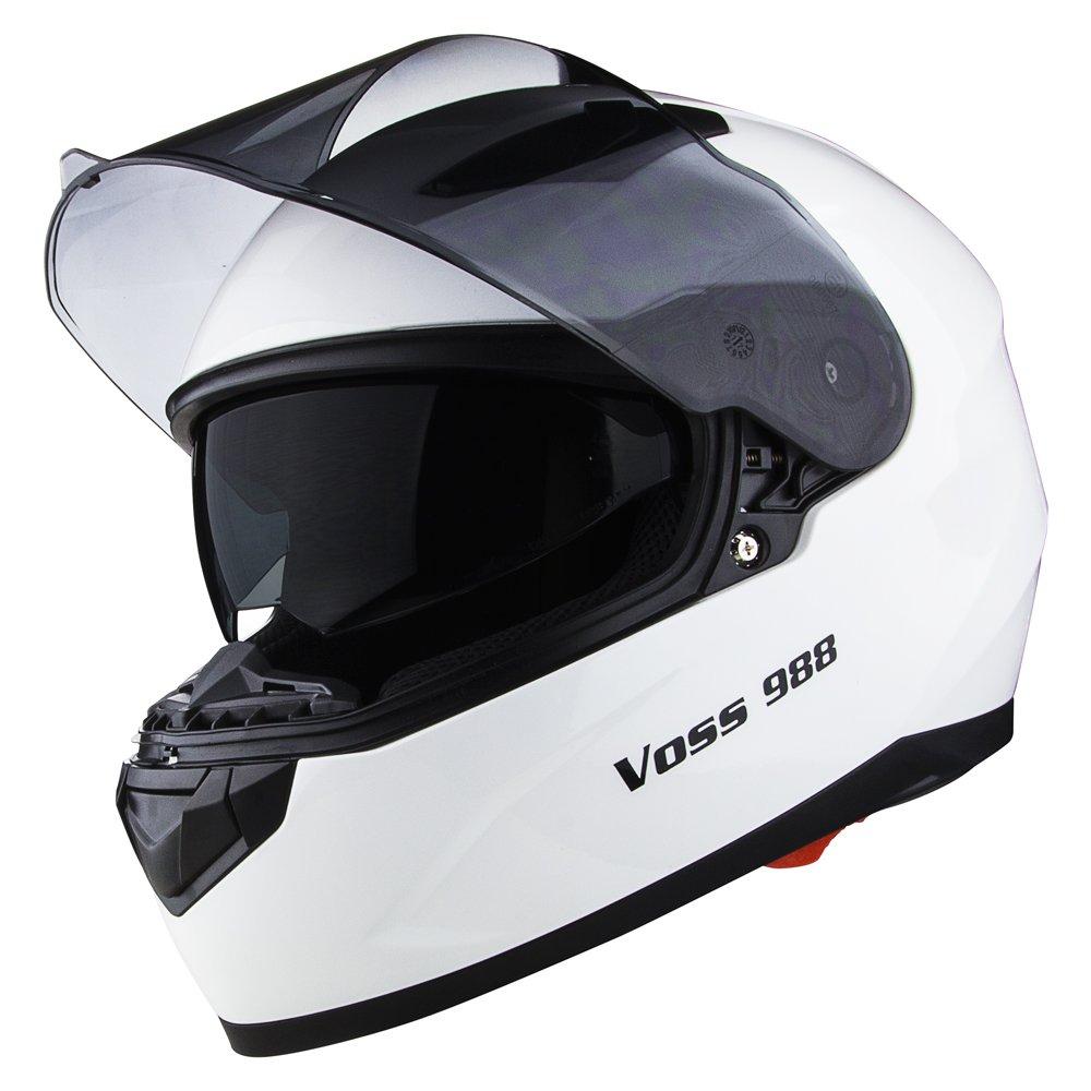 Amazon.com: Voss 988 Moto-1 Street Full Face Helmet with Drop Down Internal Sun Lens - XL - Solid Gloss White: Automotive
