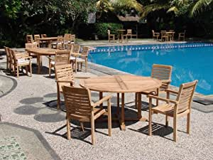 """New 5 Pc Luxurious Grade-A Teak Dining Set - 60"""" Round Table and 4 Hari Stacking Arm Chairs #WHDSHR3"""