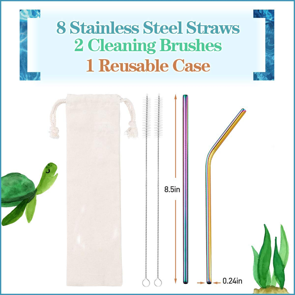 "LY-LONGER Stainless Steel Straw Set of 8 Metal Straws 8.5"" Long 0.24'' Diameter Reusable with Cleaning Brush for Drinking"