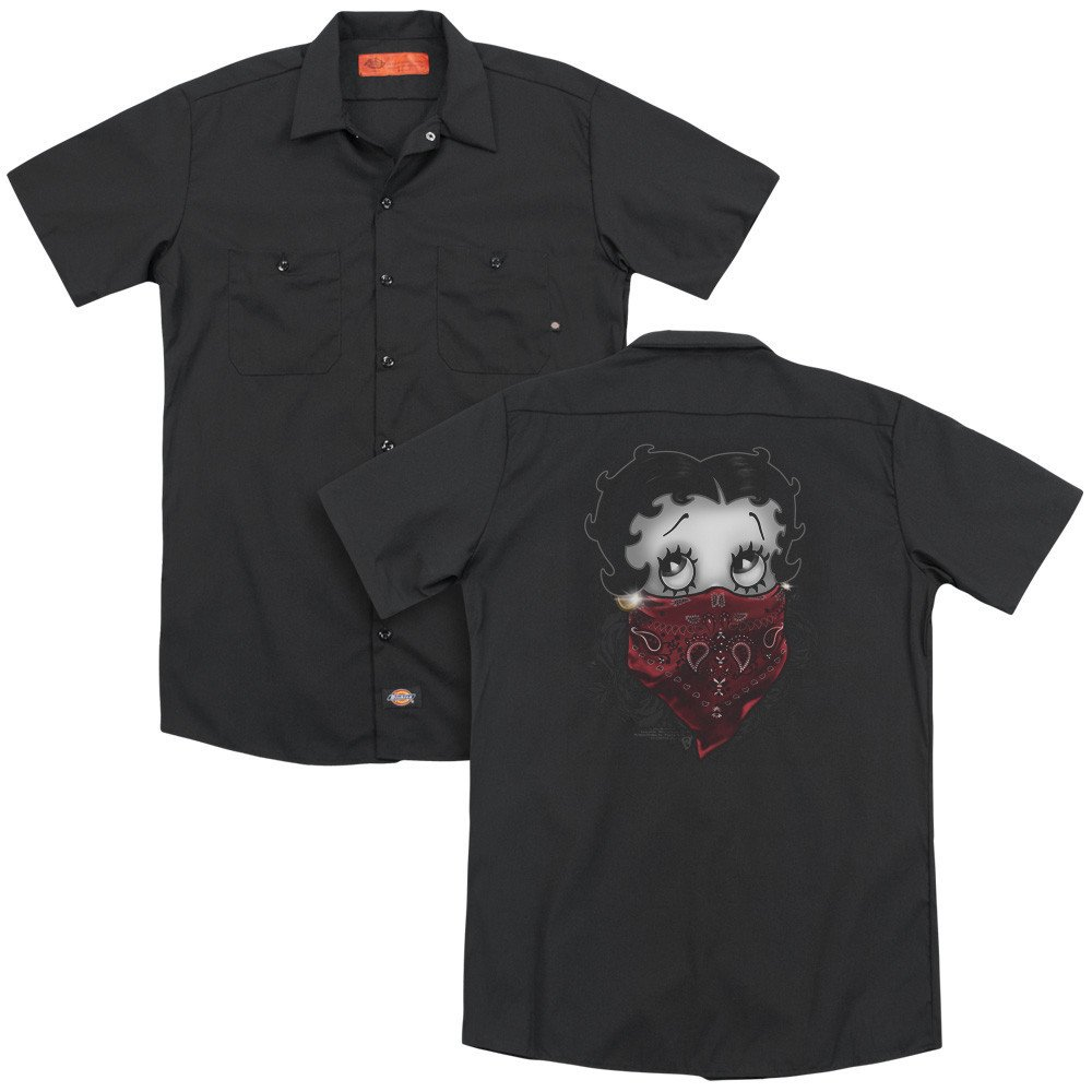 Sons of Gotham Betty Boop Bandana /& Roses Adult Work Shirt