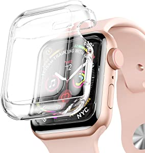 [2-Pack] iiteeology Compatible with Apple Watch Screen Protector 44mm Series 6/ SE/Series 5/4, Full Protective TPU Case Built in iWatch 44mm Screen Protector - 44mm Clear