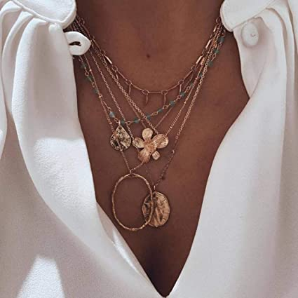 Acedre Boho Gold Maple Choker Necklace Heart Pyramid Layered Pendant Necklace Chains Egyptian Pharaoh Beach Adjustable Jewelry Dainty Accessory for Women and Girls