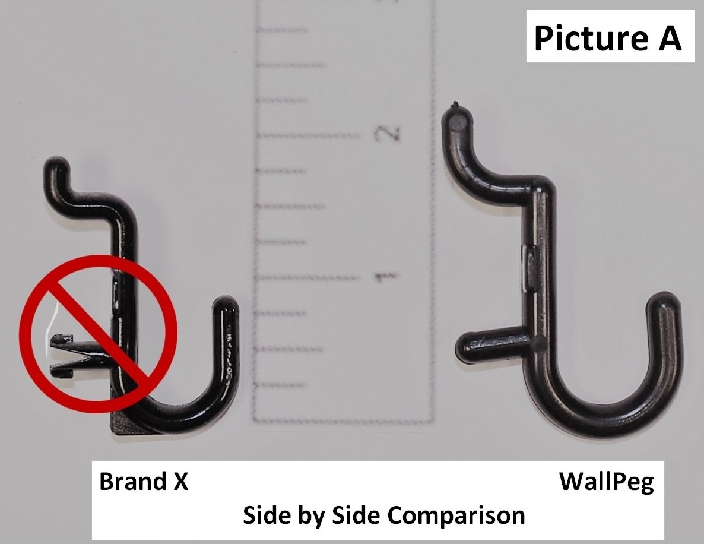 "WallPeg Plastic Pegboard Hooks 75-pk Black – 25 J, 25 L, & 25 Jumbo ¼"" Peg Hooks AM-75-B-2"
